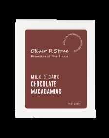 Oliver R Stone  200g Milk & Dark  Chocolate Macadamias