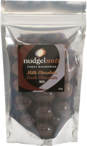 Nudgel Nuts  Milk & Dark Chocolate  Coated Macadamias 200g