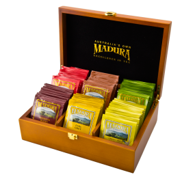 Wooden Tea Box  72 Tea Bags  Assortment